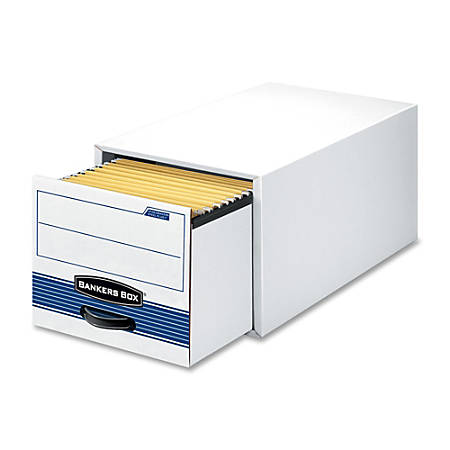 """Bankers Box® 65% Recycled Medium-Duty Storage Drawers, 5 1/4"""" x 10 1/2"""" x 25 1/4"""", White/Blue, Case Of 12"""