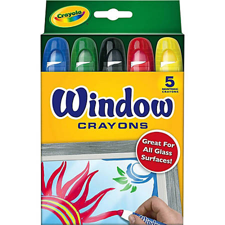 Crayola® Washable Window Crayons, Assorted Colors, Box Of 5
