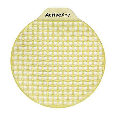 "ActiveAire® Low-Splash Deodorizer Urinal Screens, Citrus Scent, 2""H x 2 7/8""W x 6 1/2""D, Yellow, Case Of 12"