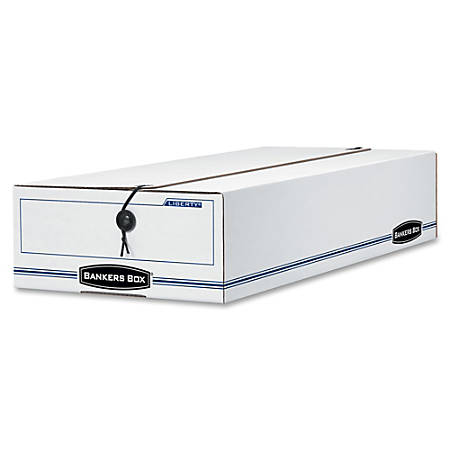 """Bankers Box® Liberty® 65% Recycled Corrugated Storage Boxes, 5"""" x 11"""" x 24"""", White/Blue, Case Of 12"""