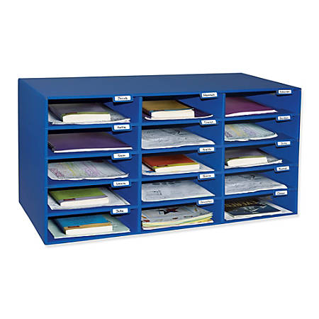 Pacon® 70% Recycled Mailbox Storage Unit, 15 Slots, Blue