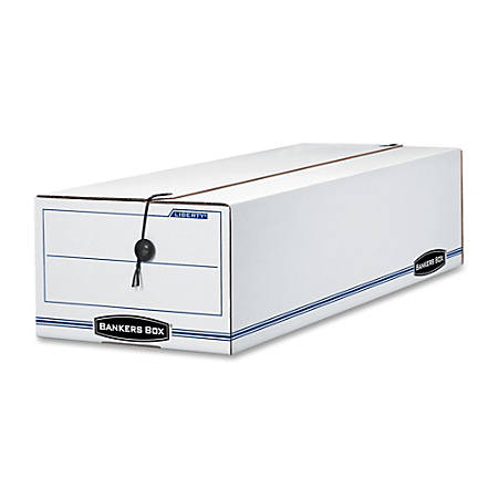 """Bankers Box® Liberty® 65% Recycled Corrugated Storage Boxes, 6 1/4"""" x 9 3/4"""" x 23 3/4"""", White/Blue, Case Of 12"""