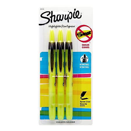 Sharpie® Accent® Retractable Highlighters, Fluorescent Yellow, Pack Of 3