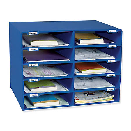 Pacon® 70% Recycled Mailbox Storage Unit, 10 Slots, Blue