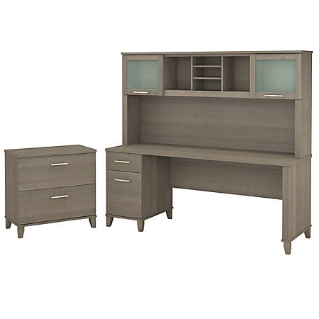 "Bush Furniture Somerset 72""W Office Desk With Hutch And Lateral File Cabinet, Ash Gray, Standard Delivery"