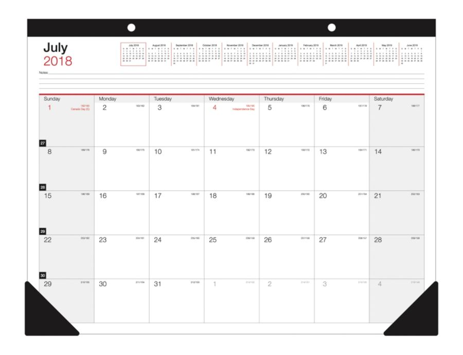 Office Depot Brand Monthly Academic Desk Calendar 22 X 17 July 2018