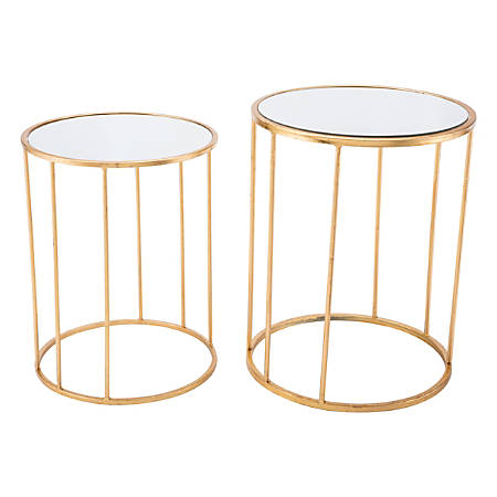 Zuo Modern Finita Nesting Tables, Round, Gold, Set Of 2 Tables