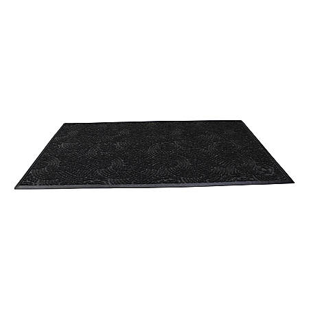 "Waterhog Plus Swirl Floor Mat, 72"" x 144"", 100% Recycled, Black Smoke"
