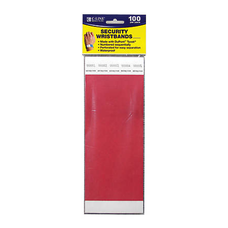 """C-Line® DuPont™ Tyvek® Security Wristbands, 3/4"""" x 10"""", Red, 100 Wristbands Per Pack, Set Of 2 Packs"""