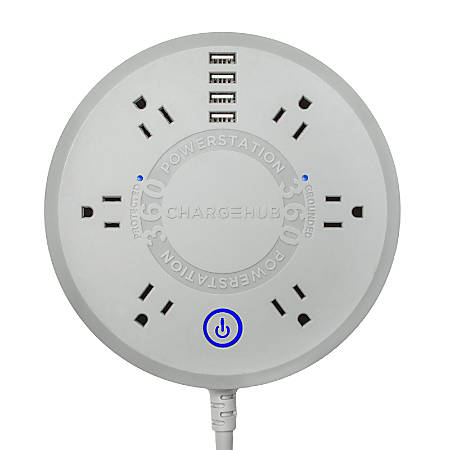 ChargeHub Powerstation 360 6-Outlet Surge Protector Power Strip, 5' Cord, Gray