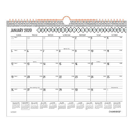 """Cambridge® Capetown Monthly Wall Calendar, 15"""" x 12"""", Black/Teal/White, January To December 2020, W1267-707"""