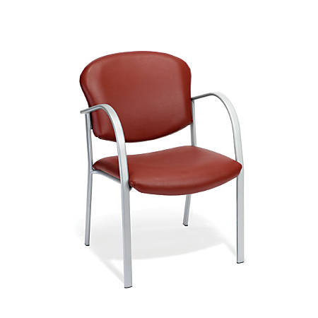 OFM Danbelle Series Anti-Bacterial Contract Reception Chair, Wine/Silver