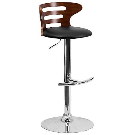 Flash Furniture Bentwood 3-Slot Cutout Adjustable Bar Stool, Walnut/Black
