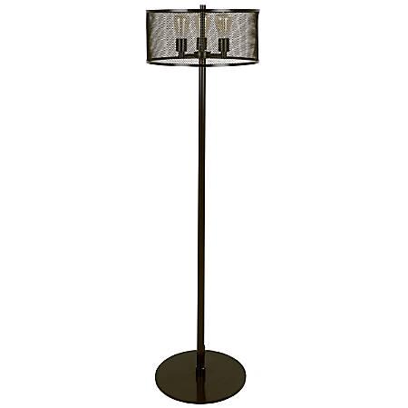 Lumisource Indy Mesh Industrial Floor Lamp, Antique Black