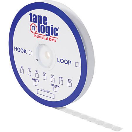 "Tape Logic® Individual Tape Dots, Hooks, 0.63"", White, Case Of 1,200"