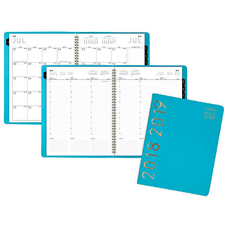 "AT-A-GLANCE® Contemporary Weekly/Monthly Academic Appointment Book/Planner, 8 1/4"" x 10 7/8"", 30% Recycled, Teal, July 2018 to June 2019"