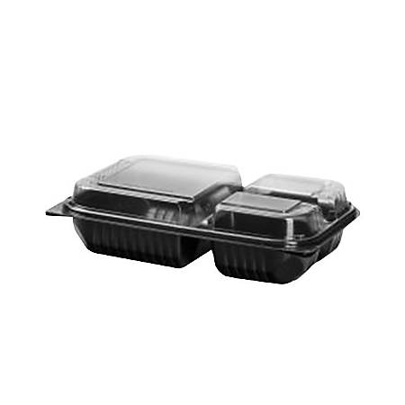 Solo® Creative Carryouts® BoxLine Dinner Hinged Containers, 3 Compartments, 2 Qt, Black/Clear, Pack Of 100 Containers