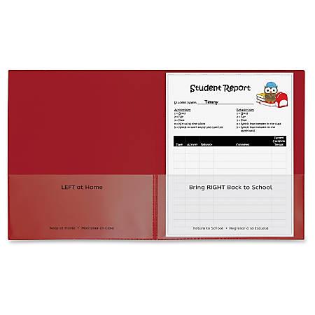 "C-Line School-To-Home Folder - Letter - 8 1/2"" x 11"" Sheet Size - 2 Internal Pocket(s) - Polypropylene - Red - 25 / Box"