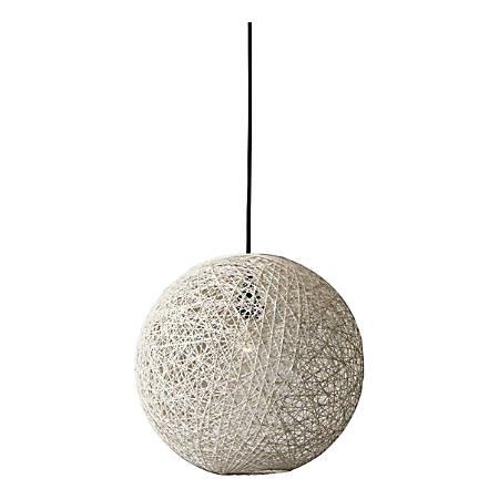 "Adesso® Havana Large Pendant Lamp, 13-1/2""H, Cream Shade/Black Base"