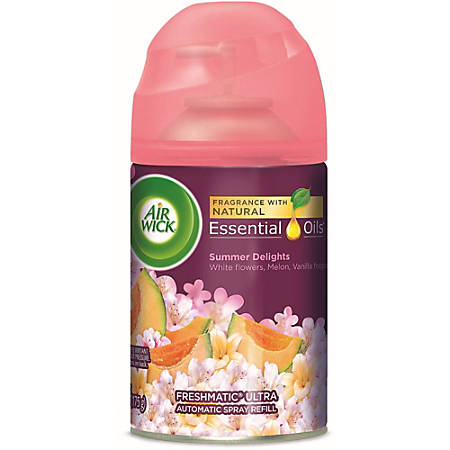 Air Wick Freshmatic Life Scents Refill - Spray - 6.2 fl oz (0.2 quart) - Summer Delights, White Florals, Sweet Melon, Subtle Vanilla - 60 Day - 6 / Carton - Wall Mountable, Long Lasting