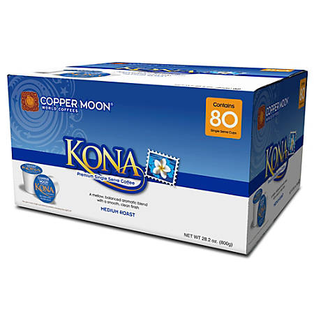 Copper Moon Coffee Single Cups, Kona Blend, 0.35 Oz, Pack Of 80