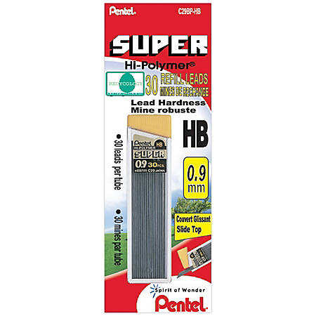 Pentel® HB Lead Refill Economy Pack, 0.9 mm, Black, Pack Of 30 Refills