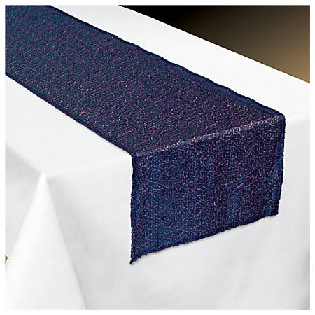 """Amscan Fabric Table Runner, 13"""" x 72"""", Sapphire Sequin"""