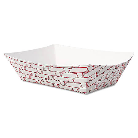 Boardwalk Paper Food Baskets, 8 Oz Capacity, Red/White, Pack Of 1,000