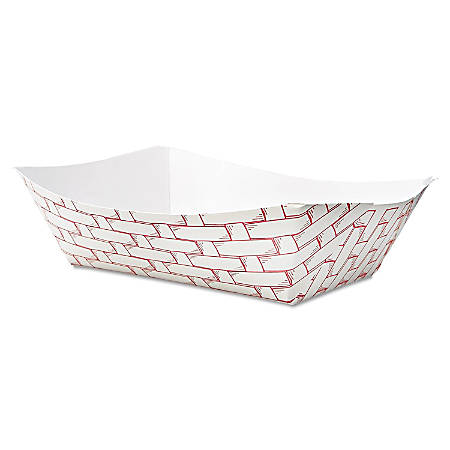 Boardwalk Paper Food Baskets, 3 Lb Capacity, Red/White, Pack Of 500