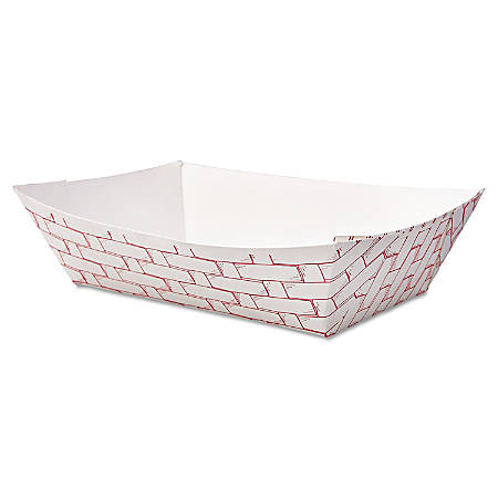 Boardwalk Paper Food Baskets, 2 Lb Capacity, Red/White, Pack Of 1,000