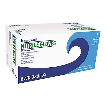 Boardwalk Disposable Nitrile General-Purpose Gloves, Large, Blue, Box Of 1,000 Gloves