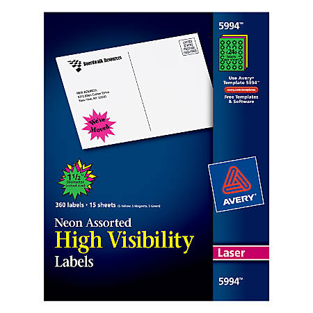 """Avery® High Visibility Permanent Burst Labels, 5994, 1 1/2"""" Diameter, Assorted, Pack Of 360"""