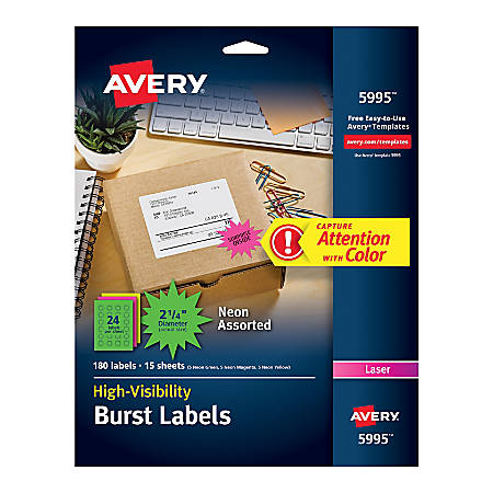 "Avery® High Visibility Permanent Burst Labels, 5995, 2 1/4"" Diameter, Assorted, Pack Of 180"