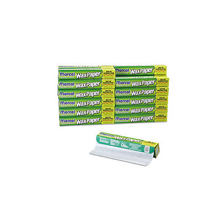 """Marcal® Kitchen Charm Wax Paper Rolls, 11 9/10"""" x 75', 30% Recycled, White, Carton Of 24"""