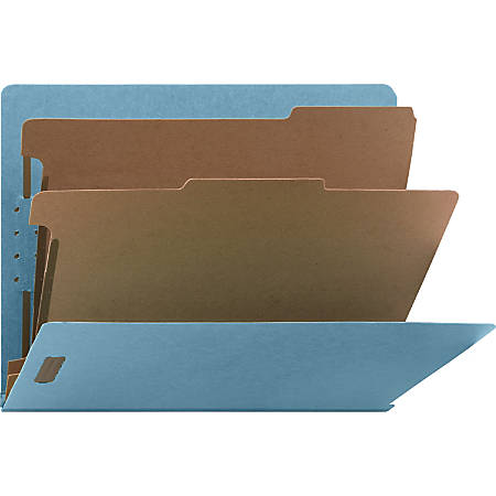 """Nature Saver Recycled End Tab Classification Folders - Letter - 8 1/2"""" x 11"""" Sheet Size - End Tab Location - 2 Divider(s) - 25 pt. Folder Thickness - Blue - Recycled - 10 / Box"""
