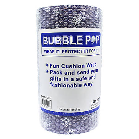 "Bubble Pop Air-Cap Bubble Roll, 12"" x 20', Assorted Holiday Pattern"