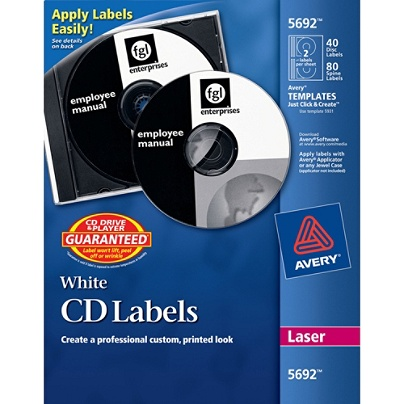 avery cddvd labels permanent 5692 matte white pack of 40 by office