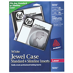 avery print to the edge laser cddvd jewel case inserts 5693 white