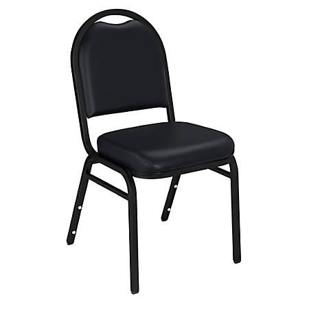 National Public Seating Dome-Back Stacking Chairs, Vinyl, Panther Black/Black, Set Of 2