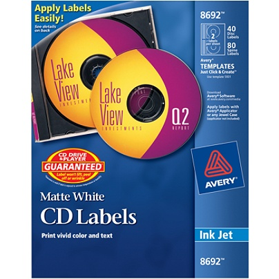 avery cddvd labels permanent 8692 matte white pack of 40 by office