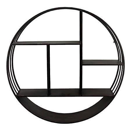 "FirsTime & Co. Brody Metal Industrial Circular Shelf, 3-Tiers, 27-1/2"" x 6"", Metallic Gray"