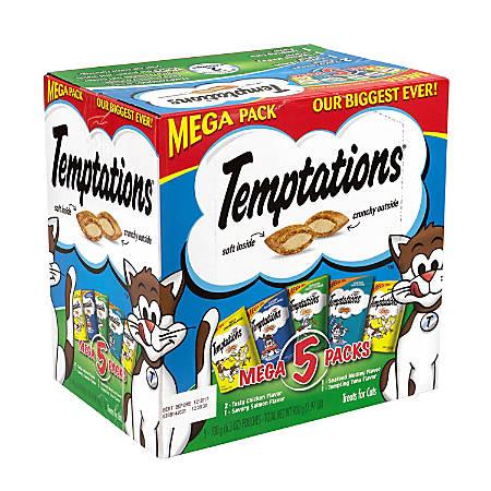 Temptations Cat Treats Mega Variety Packs, 6.3 Oz, Box Of 5 Packs