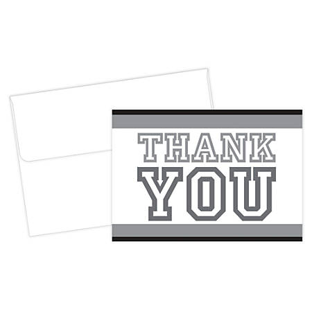 """Great Papers! Thank You Cards, 4 7/8"""" x 3 3/8"""", Collegiate, Black/White, Pack Of 24"""
