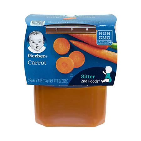 Gerber 2nd Foods Carrots Baby Food, 4 Oz, 2 Tubs Per Pack, Box Of 8 Packs