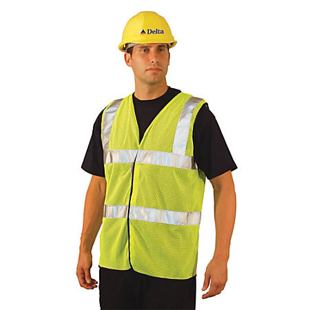 Class 2 Mesh Vests with 3M Scotchlite Reflective Tape, Large, Hi-Viz Yellow