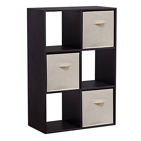 Homestar North America 6-Cube Bookcase With Bins, Dark Brown
