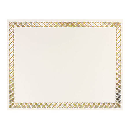 "Great Papers! Foil Certificate, 8 1/2"" x 11"", Gold Braided, Pack Of 12"