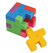 Office Depot Brand Puzzle Erasers Multicolor