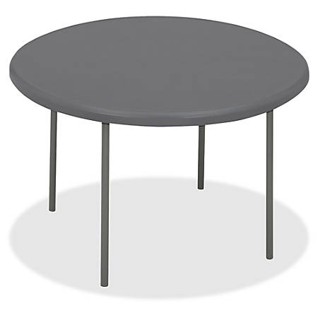 "Iceberg IndestrucTable TOO Folding Table - Round Top - Four Leg Base - 4 Legs - 2"" Table Top Thickness x 60"" Table Top Diameter - Charcoal, Powder Coated - High-density Polyethylene (HDPE), Steel"