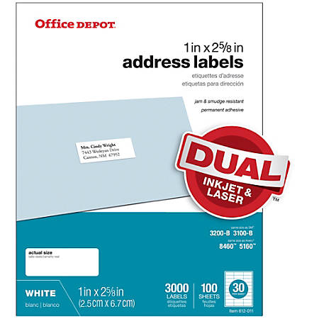 office depot brand white inkjetlaser address labels 505 o004 0004 1